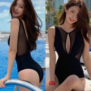 Kwon Byul (191212) Black Monokini Swimsuit Set - TruePic.net