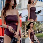 Kwon Byul (191212) Dark Purple Monokini Swimsuit Set - TruePic.net