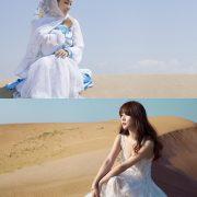 Chinese beautiful model - Liu Yan with Sexy White Dress on Desert Photo