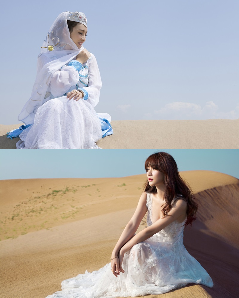 Chinese beautiful model - Liu Yan with Sexy White Dress on Desert Photo