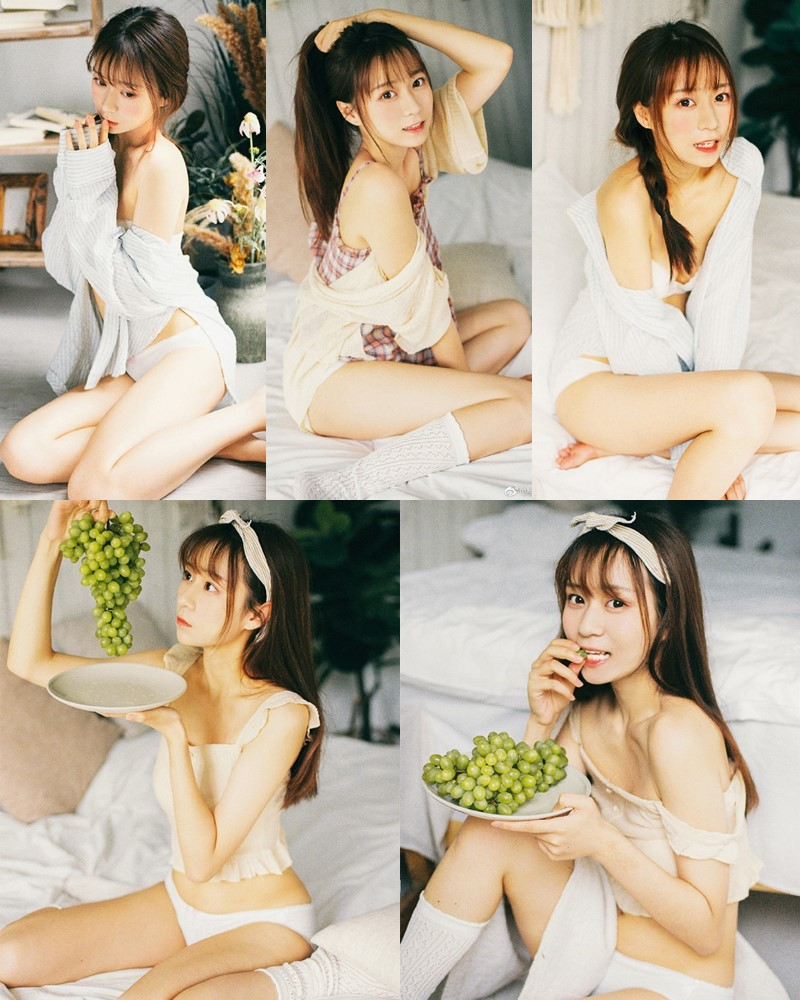 Chinese cute model - Beautiful fox girl and bunch of grapes