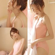 Chinese cute model - Little pink angel playing in the bathroom