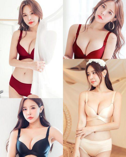 Korean Hot fashion model - Lee A Yoon - Wine Beige Black Lingerie set