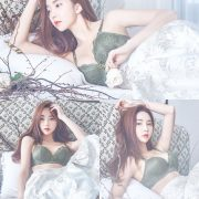 Korean beautiful model and fashion - Park Soo Yeon - Dark Green Bra Set