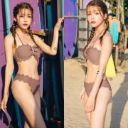 Korean cute model - Cha Yoo Jin - Mermaid Waves Tube Top Bikini - TruePic.net