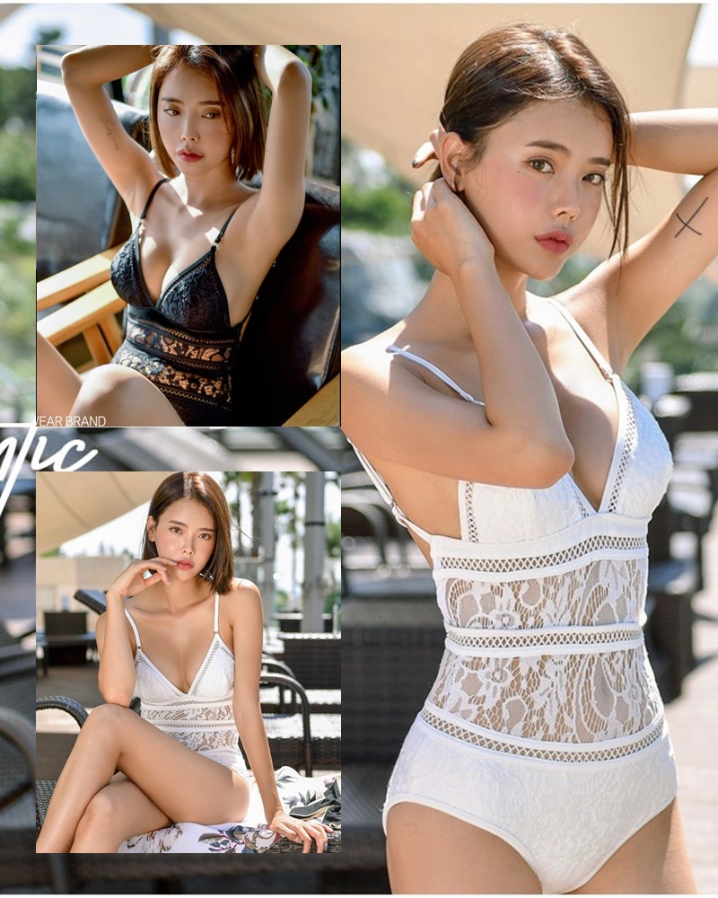 Korean hot model and fashion - Song Yi - Black and White Swimsuit for Summer Vacation