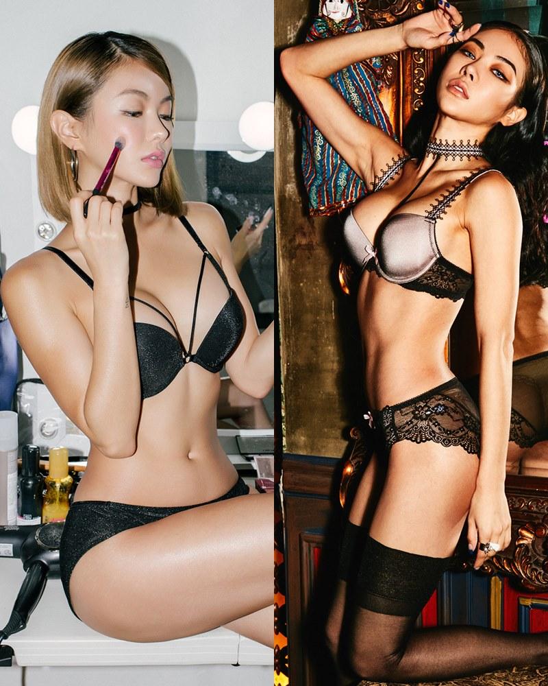 Korean model and fashion - An Seo Rin - Black Lingerie and Choker