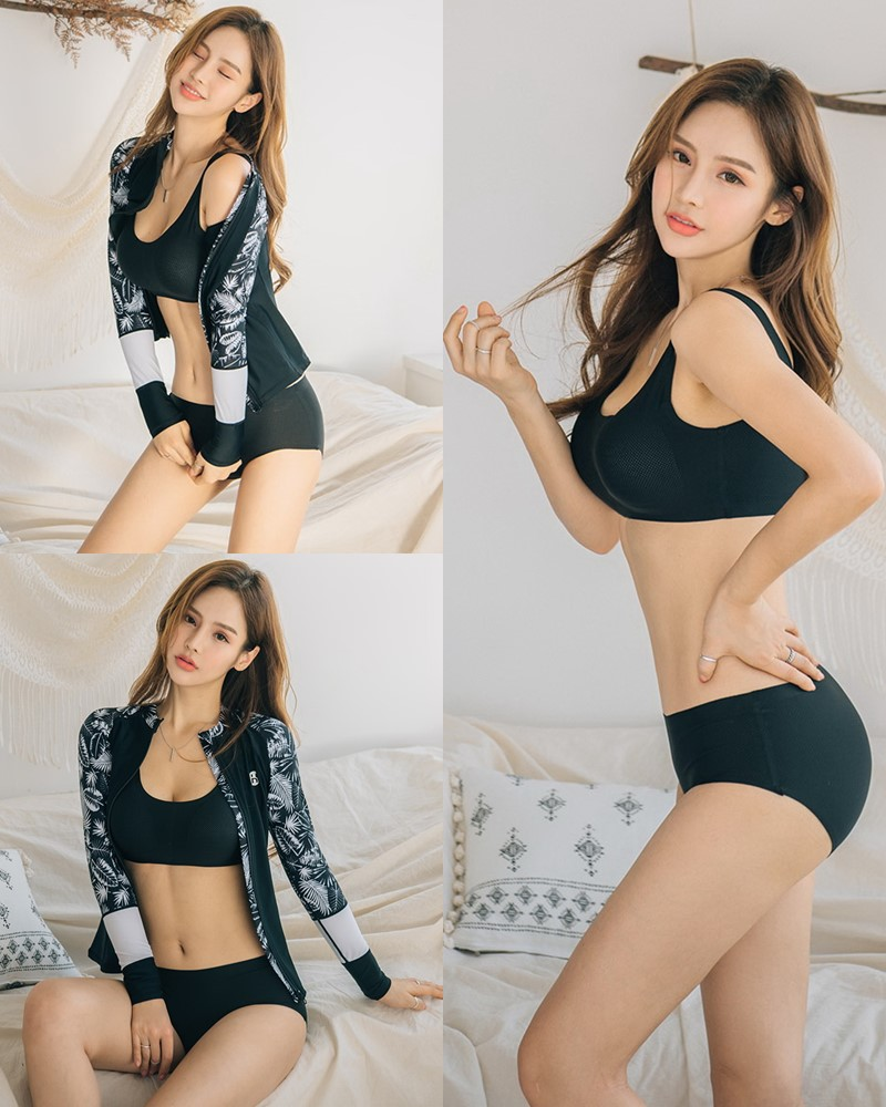 Korean model and fashion - Hyun Jung - Black Innerwear