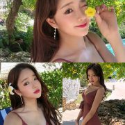 Korean model and fashion - Kang Eun Wook - Dark Maroon Onepiece Swimsuit