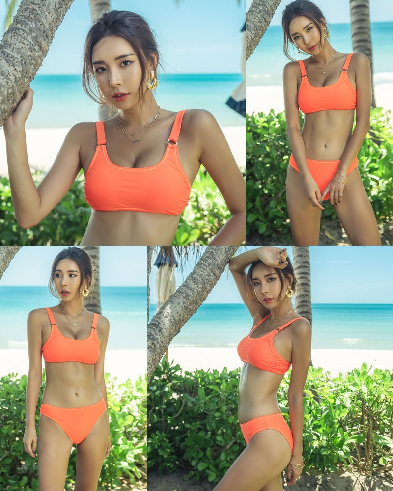 Korean model and fashion - Park Da Hyun - Orange Swimsuit