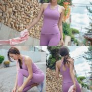 Korean model and fashion - Park Da Hyun - Plum Violet Fitness Set
