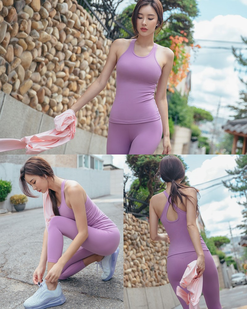 Korean model and fashion - Park Da Hyun - Plum Violet Fitness Set