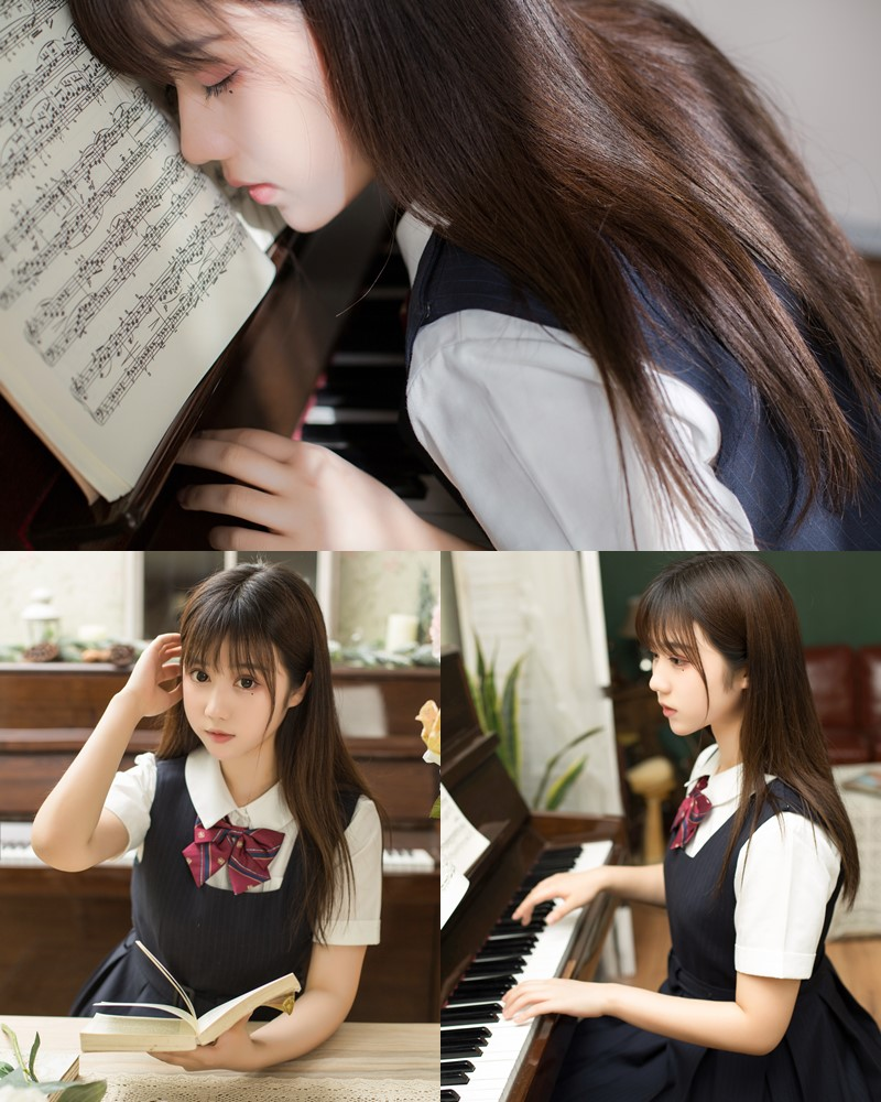 [MTCos] 喵糖映画 Vol.004 - Chinese model - School Girl practicing and playing the Piano