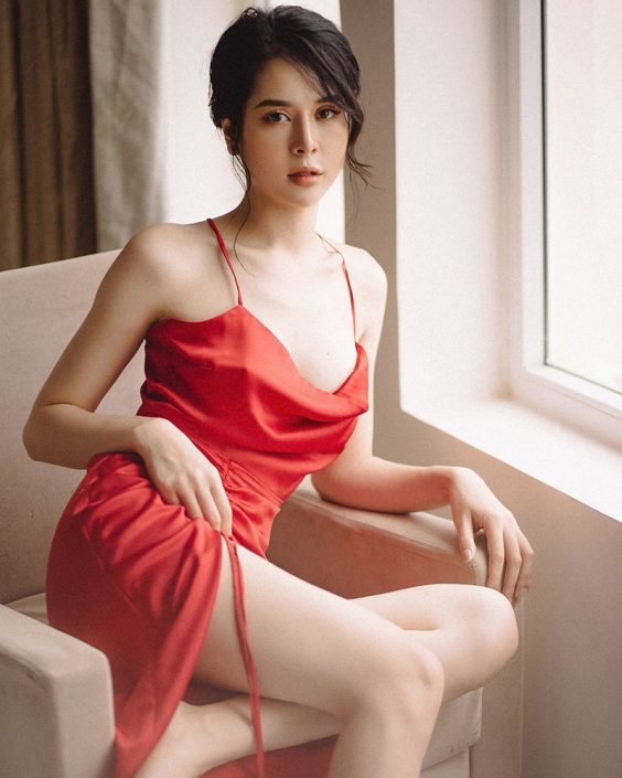 Vietnamese hot model - The beauty of Women with Red Camisole Dress - Photo by Linh Phan