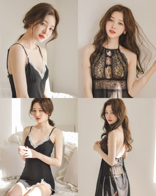 Kim Hee Jeong - 2 Black Sleepwear Sets - Korean fashion and model