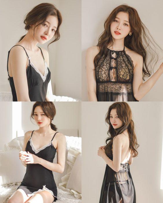Kim Hee Jeong - 2 Black Sleepwear Sets - Korean fashion and model