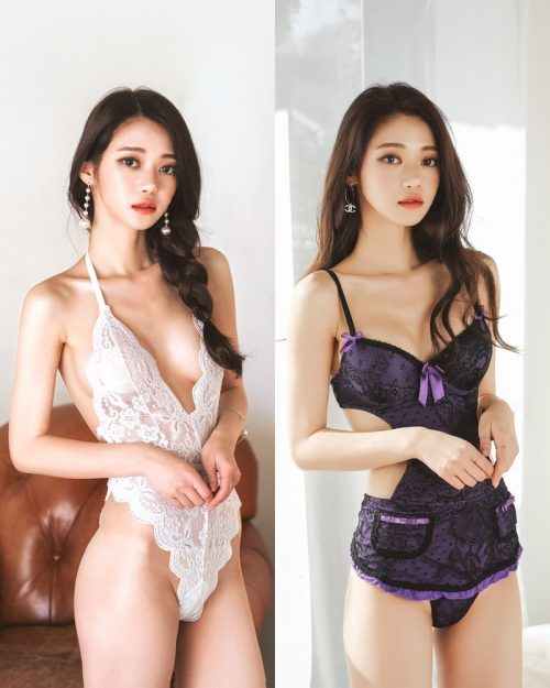 Korean Lingerie Model - Hee - Black and White Sexy Lingerie Collection - TruePic.net