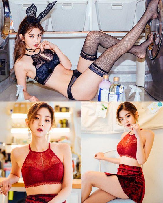 Korean Lingerie Queen - Lee Chae Eun - Red and Black Rabbit Lingerie - TruePic.net