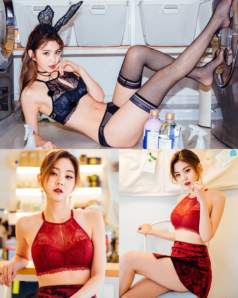 Korean Lingerie Queen - Lee Chae Eun - Red and Black Rabbit Lingerie - TruePic.net