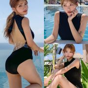 Korean fashion model - Cha Yoo Jin - Half Neck Black Monokini - TruePic.net
