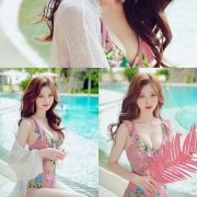 Korean lingerie queen model - Kim Hee Jeong - Floral Pink Swimsuit