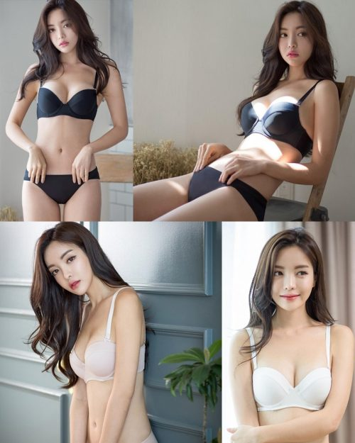 Korean model and fashion - Jin Hee - Black and white Lingerie
