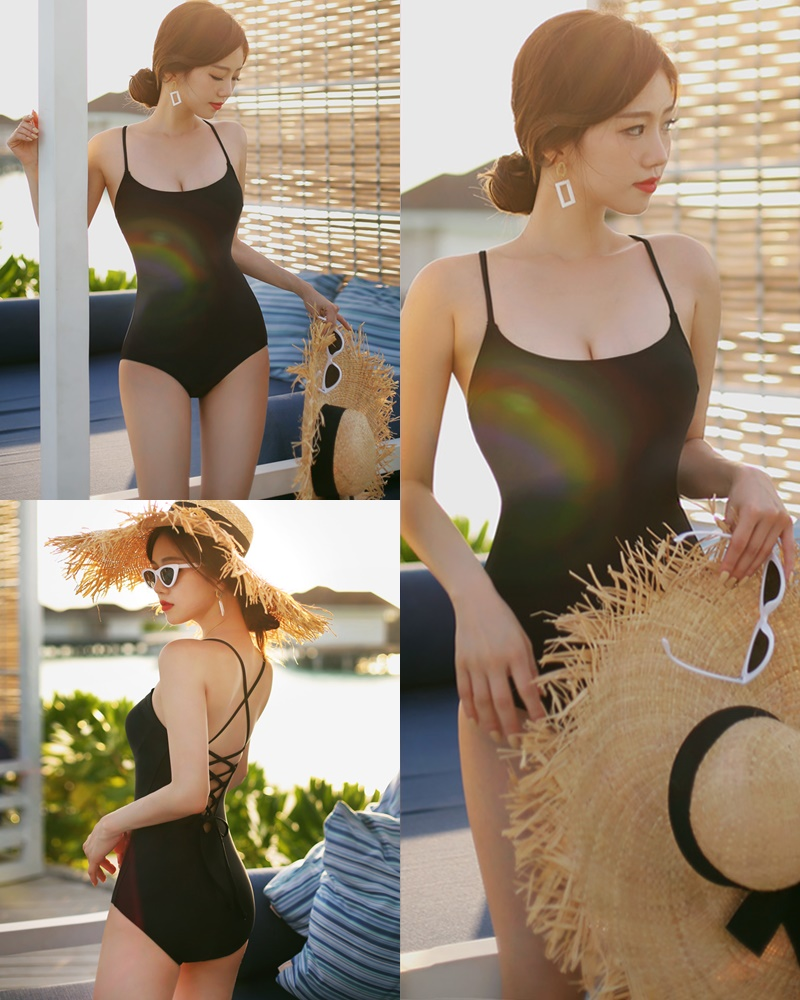 Korean model and fashion - Lee Hyunjung - Time to face me Black Monokini