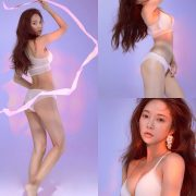 Korean model and fashion - Park Soo Yeon - Beautiful White Bralette Lingerie Set