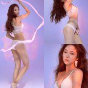 Korean model and fashion - Park Soo Yeon - Beautiful White Bralette Lingerie Set