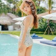Korean model fashion - Cha Yoo Jin - Alium Ivory Monokini