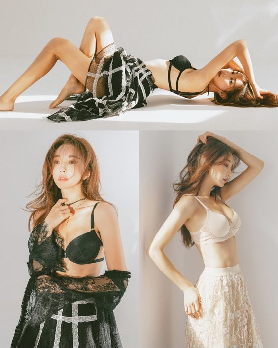 Park Soo Yeon - Black and White Lingerie - Korean model and fashion