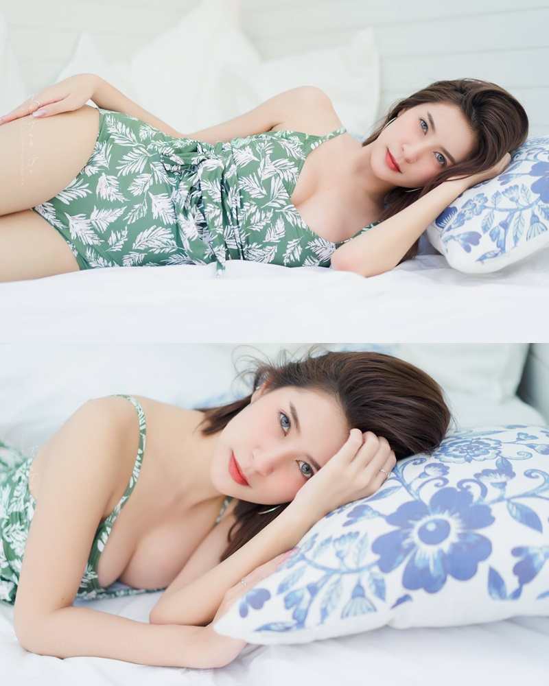 Thailand hot model MIldd Thanyarath Sriudomloert - Green monokini swimsuit