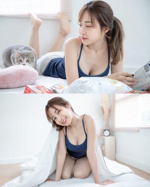 Thailand model - Thanyarat Charoenpornkittada - Stay at home with beautiul cat - TruePic.net