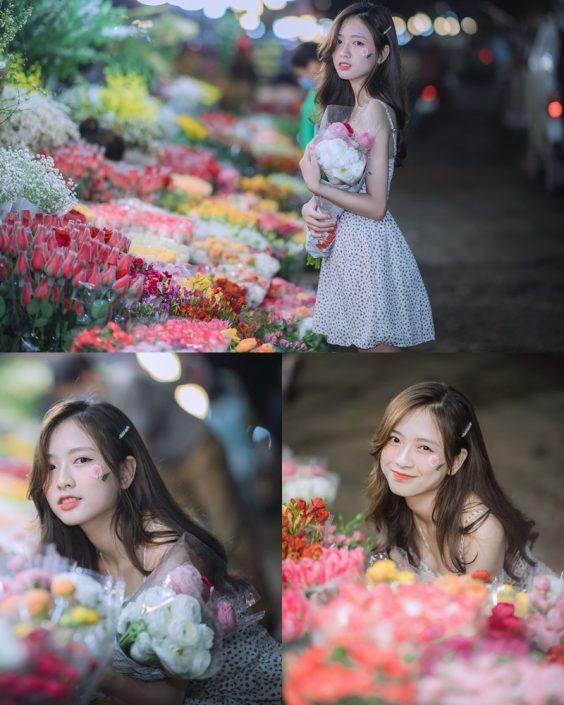 Vietnamese Hot Girl Linh Hoai - Strolling on the flower street - TruePic.net