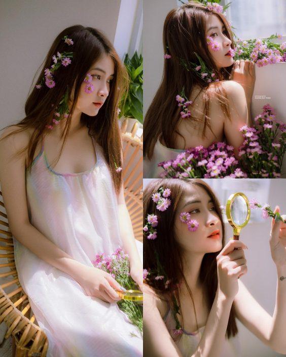 Vietnamese beautiful model Vu Thanh Huong - Fairies purple chrysanthemum