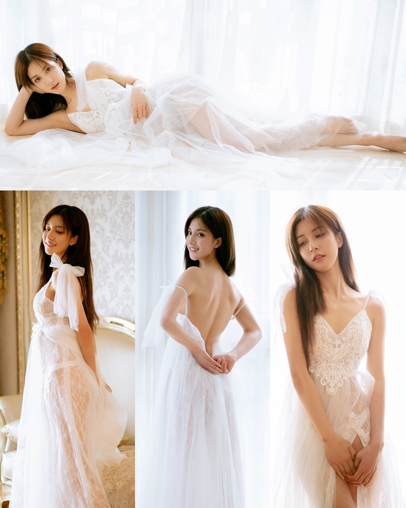 XIUREN No.1914 - Chinese model 林文文Yooki so Sexy with Transparent White Lace Dress