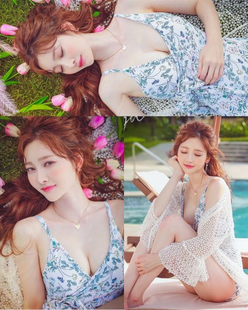 korean lingerie queen Kim Hee Jeong - Floral Blue Monokini Swimsuit Set