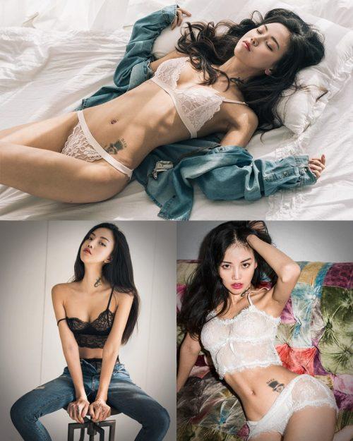 Baek-Ye-Jin-model-hot-images-Back-and-White-lingerie-set-TruePic.net