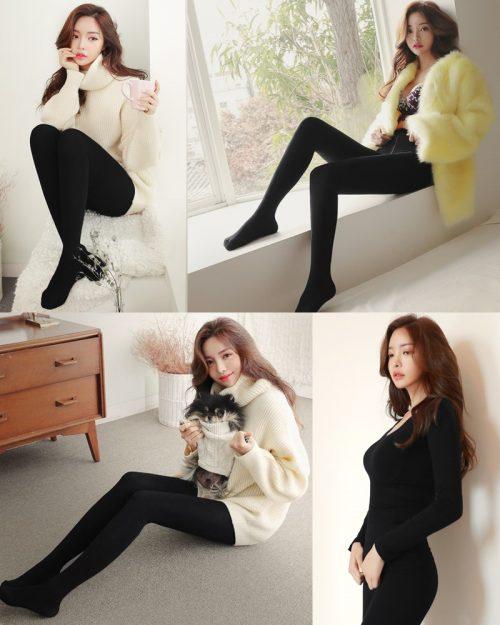 Image-Korean-Fashion-Model-Jin-Hee-Black-Tights-And-Winter-Sweater-Dress-TruePic.net