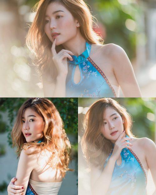 Image-Thailand-Beautiful-Girl-Pattaravadee-Boonmeesup-Blue-Chinese-Traditional-Undershirt-TruePic.net