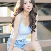 Image-Thailand-Model-Baiyok-Panachon-Cute-White-Crop-Top-and-Short-Jean-TruePic.net