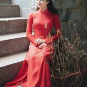 Image-Vietnamese-Model-Beautiful-Girl-and-Ao-Dai-Red-Vietnamese-Traditional-Dress-TruePic.net