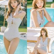 Image Korean Fashion Model - Cha Yoo Jin - Striped Hall Monokini - TruePic.net