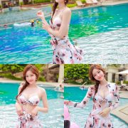Image Korean Fashion Model - Kim Hee Jeong - Pink Fantasy Flamingo Swimsuit - TruePic.net