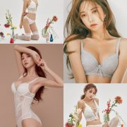 Image Korean Fashion Model - Park Soo Yeon - Light Grey and White Lingerie - TruePic.net
