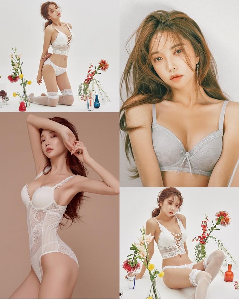 Image Korean Fashion Model - Park Soo Yeon - Light Grey and White Lingerie - TruePic.net