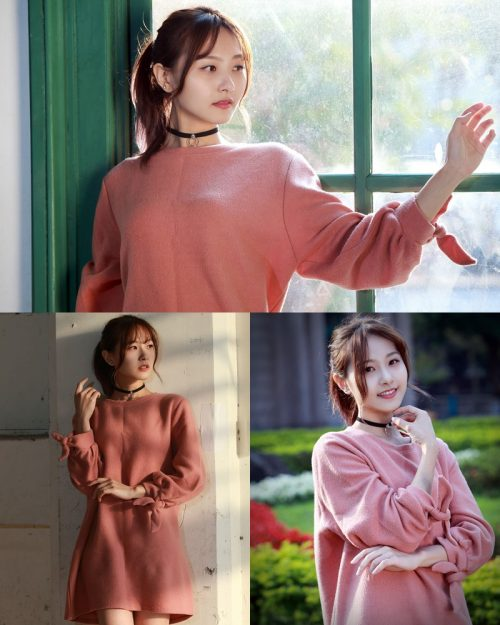 Image-Taiwanese-Model-郭思敏-Pure-And-Gorgeous-Girl-In-Pink-Sweater-Dress-TruePic.net