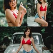 Image Thailand Model - Pattaravadee Boonmeesup - Red Bikini Top and Jean - TruePic.net