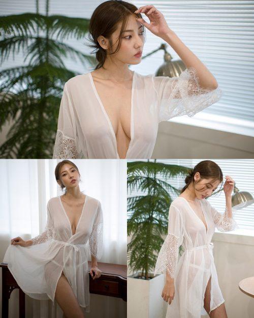 Image Korean Fashion Model - Jeon Ji Su - Montry Lace Gown Lingerie - TruePic.net