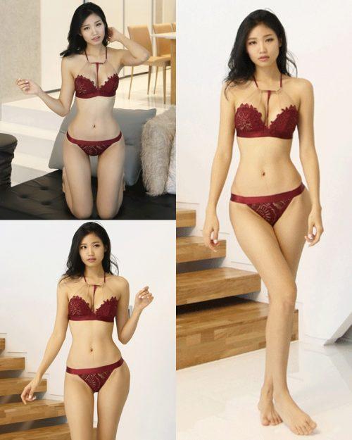 Image Korean Fashion Model - Lee Hee Eun - Baghdad Caffeine Burgundy Lingerie - TruePic.net